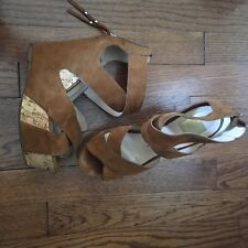 Dolce Vita DV Women's Jaime Criss-Cross Wedge Sandals Tan Suede Size 6