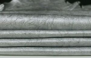 Silver with sparkles Embossed Print ITALIAN Lambskin sheep leather hide skin hides nappa