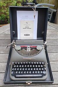 Remington Rand De Luxe Model 5 Portable Typewriter With Case, Manual Work VTG