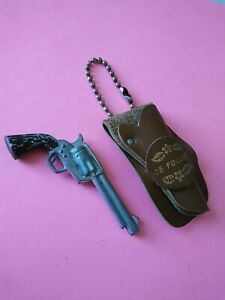 Vintage 1960's Ice Follies Skating Key Chain Metal Gun in Leather Holster rare!