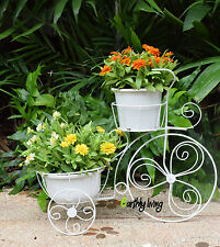 Bicycle Tricycle Wire Iron Planter Stand Front Entrance Door Idea Home Garden(L)