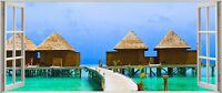 Huge 3D Panoramic Exoitic Tropical Beach Window View Wall Stickers Mural 142