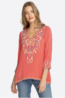 💕NWT! JOHNNY WAS Embroidered V Neck RYLEIGH BLOUSE Floral Cupra Tunic XS $225