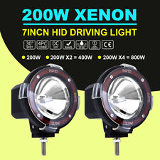 "Pair 7"" 200W HID Driving Lights XENON Spotlights Offroad 4x4 Work 12V Black AU"