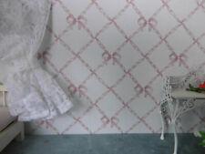 TAPETE,Puppenstube,30cmx53,altrosa Schleifenbänder auf altweiß