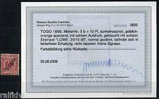 Togo 10 Pfg. Adler 1899 dunkelrosa(rot) Befund (S7157)