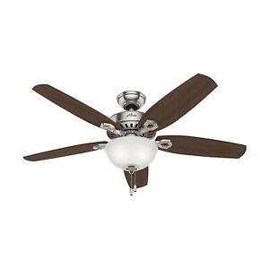 "Hunter Builder Deluxe 52"" Ceiling Fan w/ LED Light Pull Chain, Brushed Nickel"