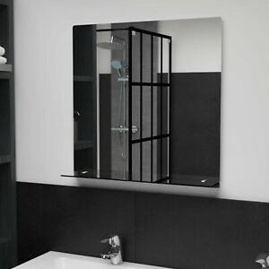 Square Bathroom Wall Mirror with Glass Shelf Vanity Make Up Mirrors Bath Decor