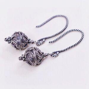 vtg Sterling silver handmade earrings, southwestern 925 w/ Bali bead dangles