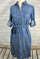 BANANA REPUBLIC Chambray Shirt Dress - Blue Denim Jean Belted Size 2 XS Lyocell