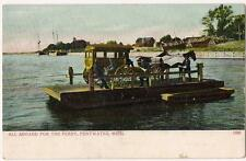 1910s Men Horse Drawn Carriage Coach On Ferry PENTWATER MICHIGAN Vtg Postcard