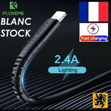 Câble Cordon chargeur rapide USB 5V 2.4A Lightning IPhone 1m flex renforcé BLANC