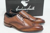 GOODWIN SMITH Men's Brown Earby Derby Tan Lace-Up Wing Tip Shoes UK7 EU41 BNIB