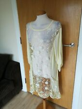 Ladies Top Size 20 22 Pale Yellow Lace Sheer Lagenlook Draped Smart Casual
