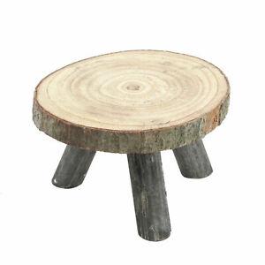 Blumenhocker mit Holz Baumscheibe - 18 cm - Beistelltisch Deko Tisch Hocker
