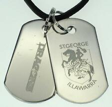 St George Dragons NRL Mens Double Dog Tag S/s Leather Necklace Jewellery