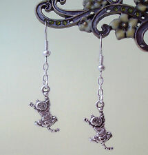 Cute 3D Crazy Mad Swinging Cat Dangly Earrings