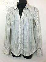 Express 'Essentials Stretch' LS Women's Button Up Shirt, White Striped, Size S!