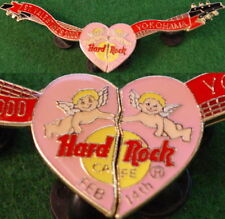 Hard Rock Cafe YOKOHAMA 2000 Valentine's Day 2 PIN SET Heart Guitars HRC #12418