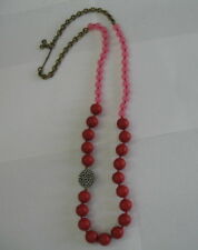 """Beautiful 36"""" Fossil red, pink and rhinestone bead necklace Adj length"""