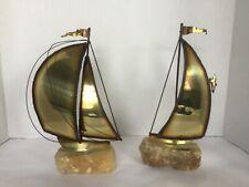MCM Vtg Demott Brass Metal on Stone Base Sailboat Sculptures Set of 2 Signed