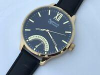 American Exchange Men Watch Black Band Gold Tone Case Analog Date Calendar Wrist