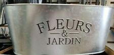 """Oval Galvanized Planters Choose 1 of 2 Designs 10"""" X 5"""" X 4"""" Flowers or Fleurs"""