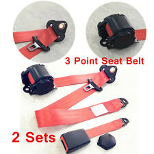 2x Red 3 Point Universal Type Accessories Car SUV Seat Safety Belt Buckle Kit