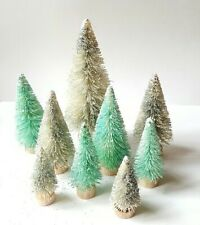 Lot 9 Mini Aqua Blue Teal & Silver Miniature Sisal Bottle Brush Christmas Trees