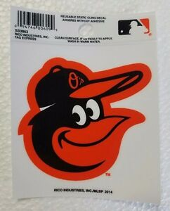 """Baltimore Orioles 3"""" x 4"""" Small Static Cling Truck Car Auto Window Decal - Face"""