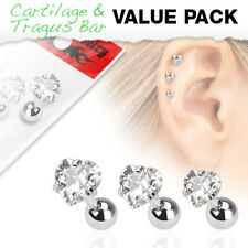 3 Pc Clear Heart CZ Ear Cartilage Daith Tragus Helix Earrings Barbell Studs