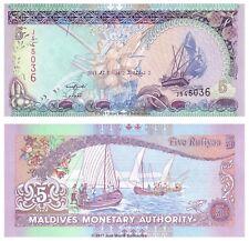 Maldives 5 Rufiyaa 2011 P-18e Banknotes UNC