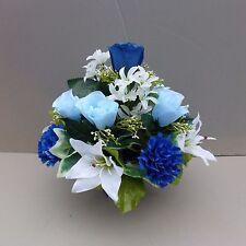 Artificial Flower Arrangement Royal Blue In Pot For Grave/Memorial Vase-02