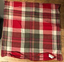 Pottery Barn Plaid Pillow Cover 24x24 Red Black Cabin Lodge