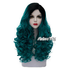 Lolita Turquoise Green Mixed Black 60CM Long Curly Hair Harajuku Cosplay Wig