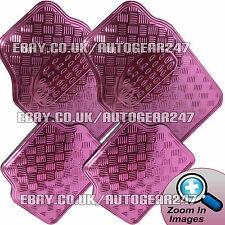 Checker plaque design rose brillant chrome look voiture lourde en caoutchouc pvc tapis set de 4