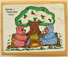 "Embossing Arts ""Teddy Bear Picnic"" Rubber Stamp - Wood Mounted- Excellent Cond."