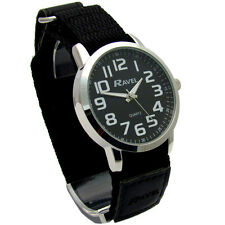 Ravel Gents Clear Easy-Read Watch Large Numbers Black Sports Rip Strap 1601.64.3