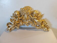 ANTIQUE GOLD CHERUBS AND ROSES DECORATIVE MOULDING FIRE PLACE FURNITURE