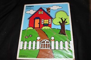 Playskool Vintage Wooden Home Sweet Home 1988 5 Pieces House Gate Tree Kids Sky