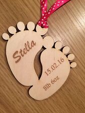 wooden baby feet gift tag, baby, christening, personalised