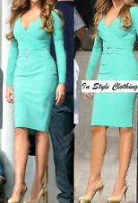 """RIANNE"" GORGEOUS AQUA SIZE 8-10 CROSSOVER DRESS SUIT DAY EVENING COCKTAIL ETC"