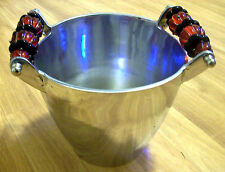 """SILVER ICE BUCKET  WITH BEADED HANDLE MADE IN INDIA 7""""D and 7.5"""" TAll"""