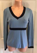 Ann Taylor, LOFT, Size Medium, V-Neck Sweater in Country Blue/Black w/Stripe