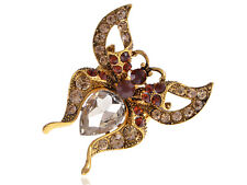 Antique Gold Tone Topaz Crystal Rhinestone Folded Wing Butterfly Moth Bug Ring