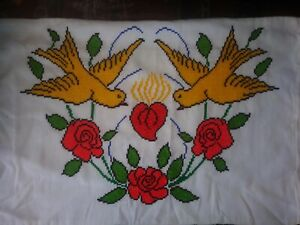 Mexico Embroidery  pillow case hand made  Yellow Birds (pair)  #1