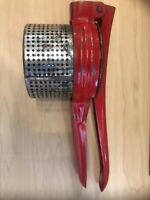 Vintage Red Metal Potato Ricer Masher Strainer Press Mid Century Rustic Decor