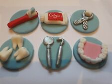 6 Dentist edible sugar birthday cake, cupcake topper decorations