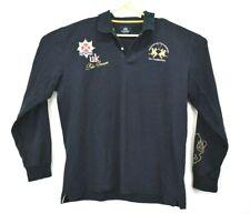 La Martina Men's 3XL Navy Blue UK Polo Season Button Collar Long Sleeve Shirt