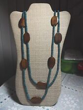"Urban Outfitters Long 48"" Double Strand Turquoise Brown Bead Necklace NEW"